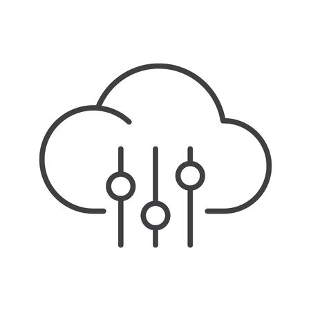 Cloud icon with Control or equalizer, vector