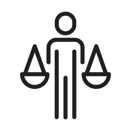 A person with a scale symbolizing ethics, Ethics icon, vector line illustration