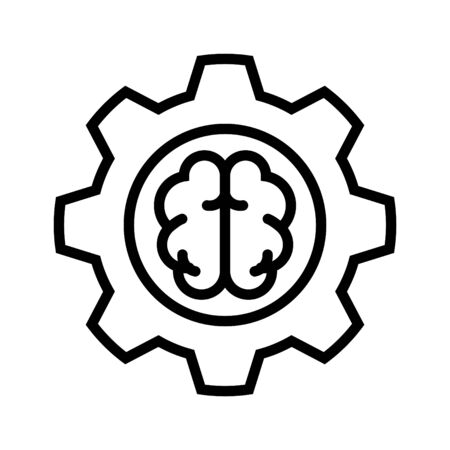 Brain and gear symbolizing ethics or conduct, Conduct icon, vector