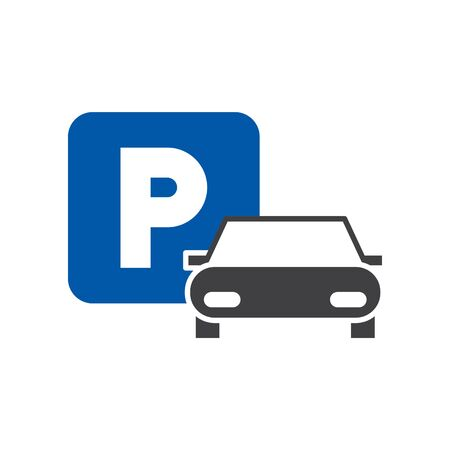 Parking icon, vector line illustration