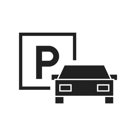 Parking icon, vector line illustration