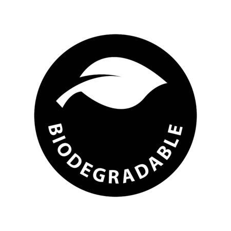 Icona foglia che simboleggia biodegradabile, illustrazione vettoriale