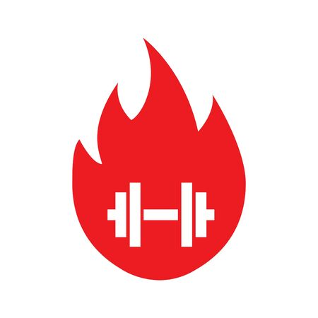 fire with dumbbell icon, vector illustration Vettoriali