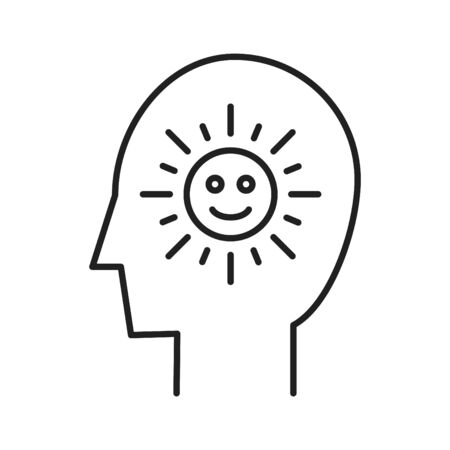A person with a sun in his mind symbolizing optimism  イラスト・ベクター素材