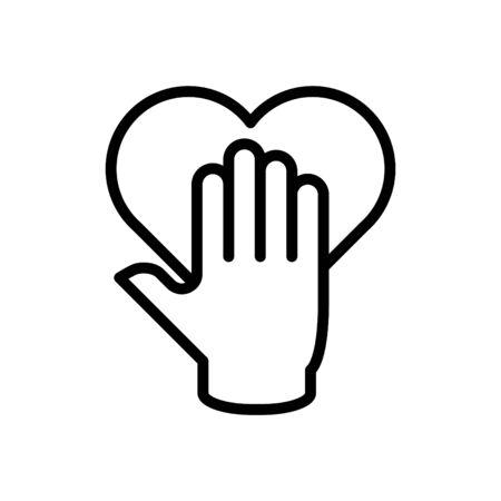 Una mano con l'icona del cuore, l'icona dell'onestà, il vettore