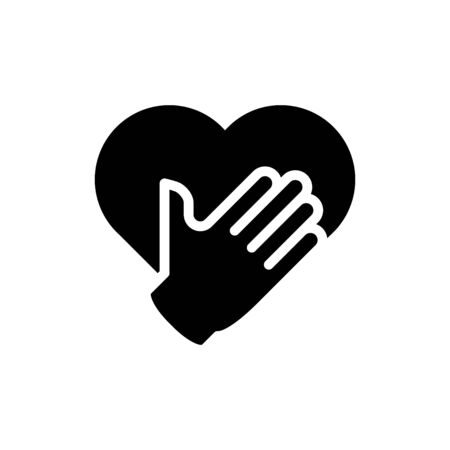 A hand with heart icon, honesty icon, vector