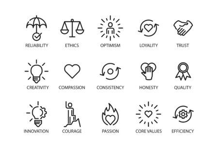 Icône de jeu de valeurs fondamentales, illustration vectorielle Vecteurs