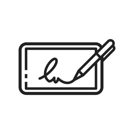 Electronic signature icon, vector illustration