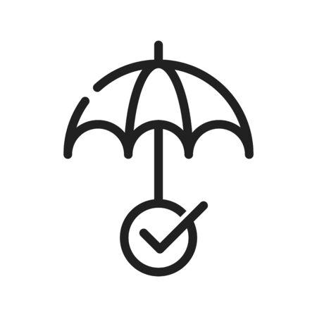 Ombrello con icona di spunta, illustrazione vettoriale