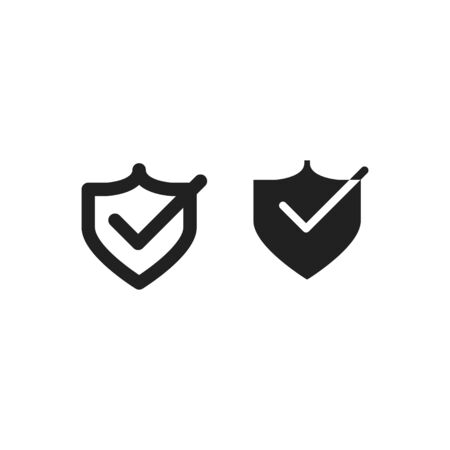 Shield with check icon, vector illustration