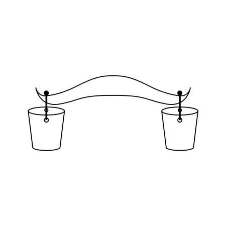 Yoke with wooden buckets icon Vector Illustration
