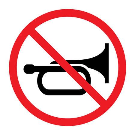 Don't honk icon, no beep, Vector illustration