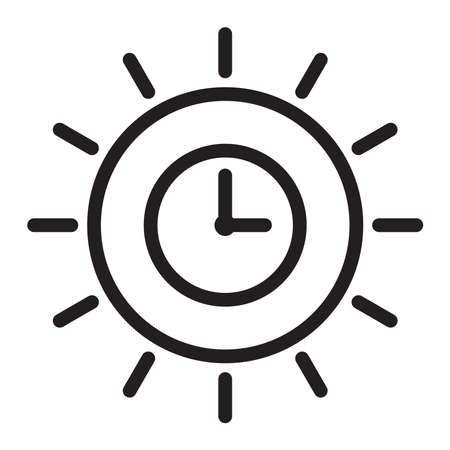 clock sun icon, vector illustration