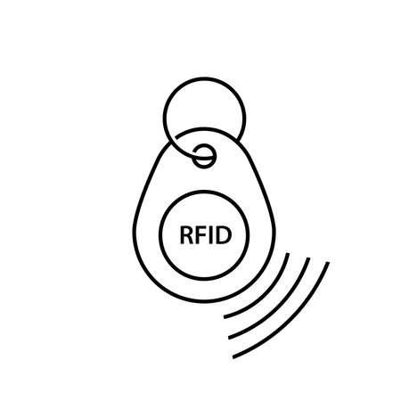 rfid key tag icon, (Radio-frequency identification) key tag.