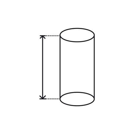 height cylinder icon, area or size, dimension icon
