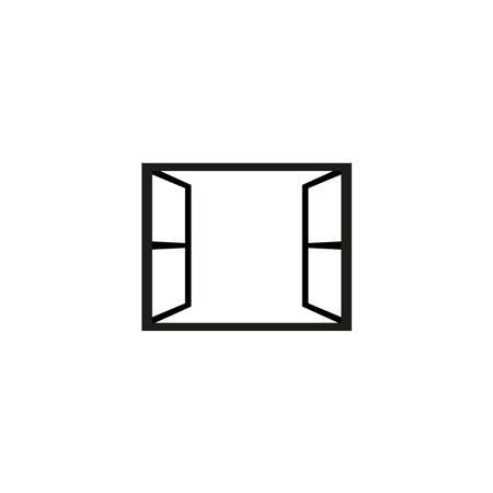 open window vector icon Illustration
