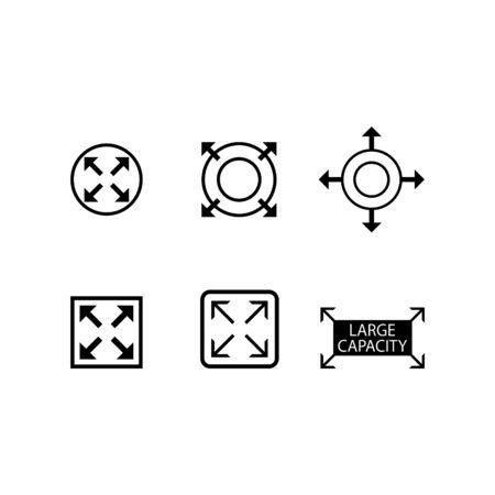 large capacity icon, expand icon set Vektoros illusztráció