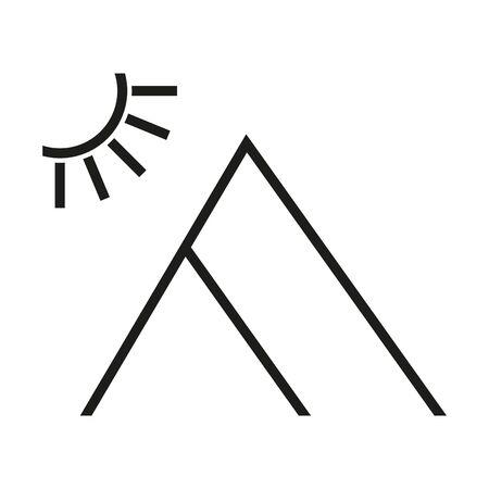 sun and mountain logo, icon