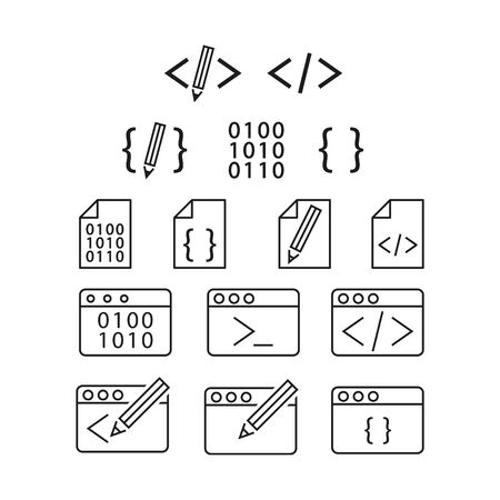 coding icons, vector illustration.