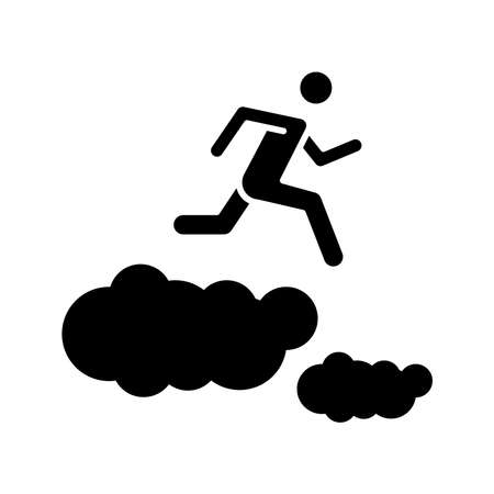a running man on clouds icon, immediate icon, vector