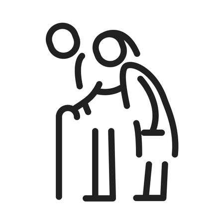Senior icon, vector line illustration