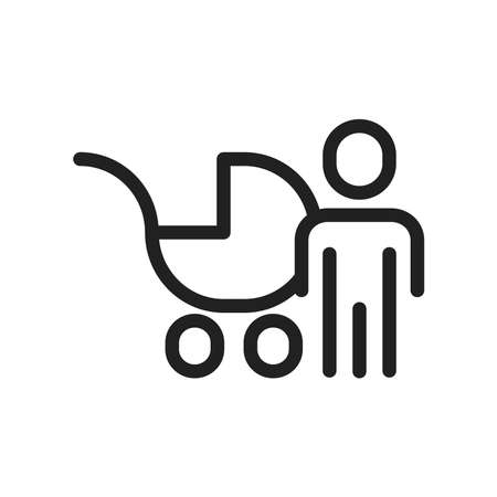 Kid with Baby carriage icon, vector line illustration
