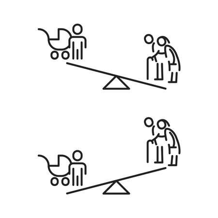 Population aging icon, vector line illustration