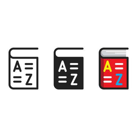 Vocabulary icon, vector line illustration