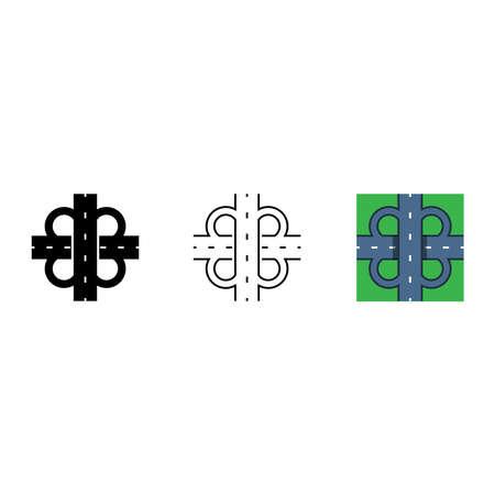 road junction icon, vector line illustration
