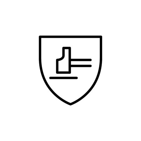 Hammer with shield icon, vector illustration
