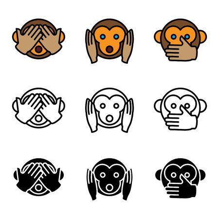 See no Evil, Hear no Evil, Speak no Evil. Vector illustration Illustration