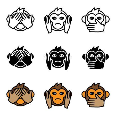 See no Evil, Hear no Evil, Speak no Evil. Vector illustration Çizim