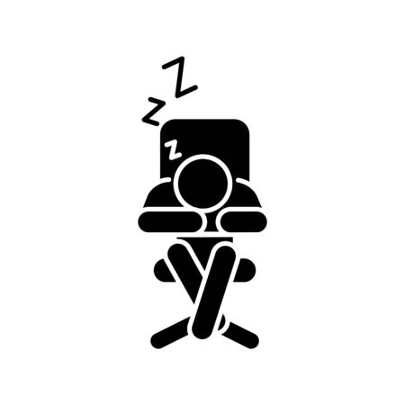 Sleeping at the table icon, vector Çizim