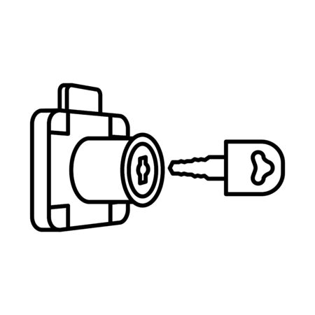 Drawer Lock and key icon, vector