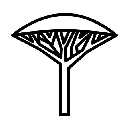 Dragon tree icon, vector line illustration Çizim