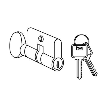 Key Cylinder Lock icon, vector Vettoriali