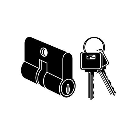 Icône de serrure de cylindre de clé, vecteur