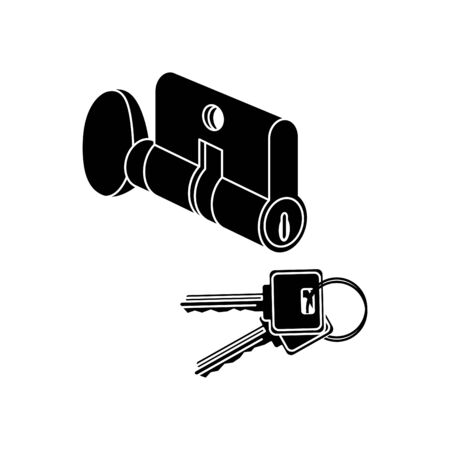 Key Cylinder Lock icon, vector