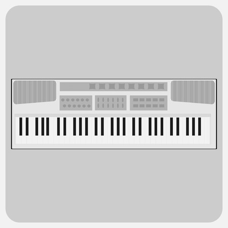 Flat icon-Musical instrument white synthesizer Piano keys Çizim
