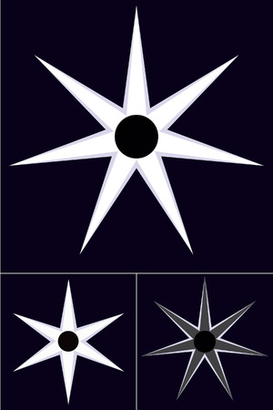 six objects: Shining stars with six and seven arms on a dark purple background