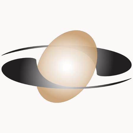 An ellipsoidal sphere with two satellites around Illustration