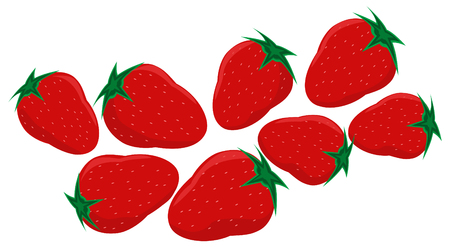 A bunch of eight red strawberries with a green peduncle a white background. Vector