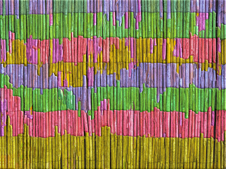 Reinforced barbed wire, painted in vivid colors in horizontal irregular strips and layers, with texture. Can be like a background.