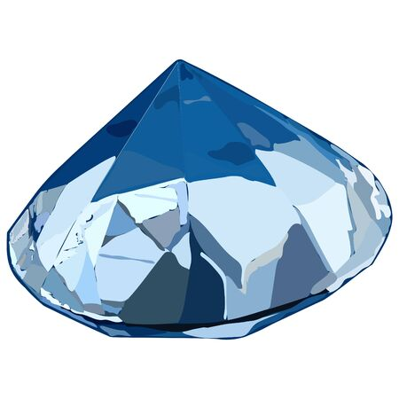 Diamond with abstract patterns in shades of blue on a white background.