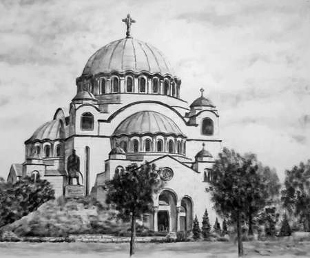 Black and white illustration of the largest Orthodox church in the Balkans