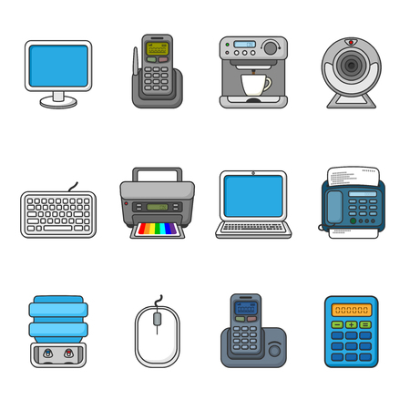 water cooler: Set of various office equipment, symbols and objects. Colorful outlined icon collection. Vector illustration. Telephones, fax, printer, monitor, laptop, coffee maker, web camera, water cooler.
