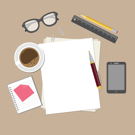 dispositions: Blank sheets of paper on the desktop. View from above of blank sheets of paper, pen, pencil, ruler, smartphone, glasses, cup of coffee, notepad, paper clips. Preparation for work, notes or sketches.