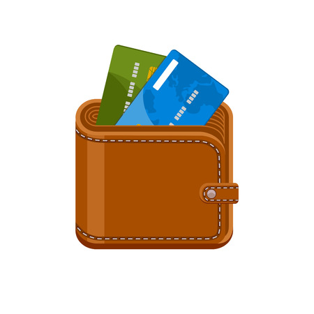 cashless: Wallet with credit bank cards. Cashless payments. Purse with plastic debit cards. Vector icon isolated on a white background.