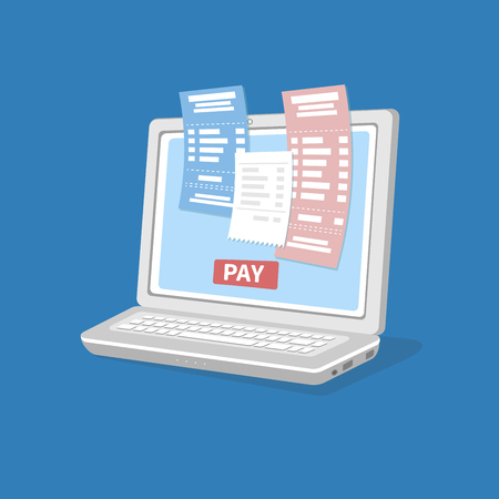Concept of pay bills tax online account via computer or laptop. Online payment. Laptop with checks and invoices on the screen. Pay button. Vector isolated illustration on blue background.