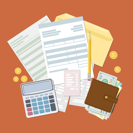 tax bills: Concept of tax payment and invoice. Open envelope with tax bills and checks. Wallet with cash money, golden coins, calculator, pencil. Vector illustration. Illustration